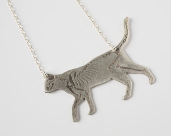 Cat Necklace - Cat Skeleton - Animal Necklace - Skeleton Necklace - Cat Jewelry - Silver Cat - Cat Gift