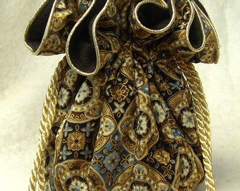 Anti Tarnish Jewelry Bag Pouch in gold, blue and brown tiled pattern