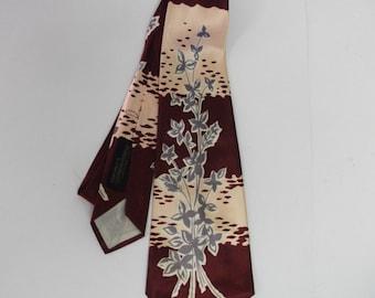 50s Vintage Deco Silk Necktie