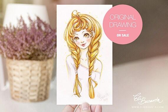 BRUNILDA - Dibujo Original - Ilustración a lápiz y rotuladores de Color