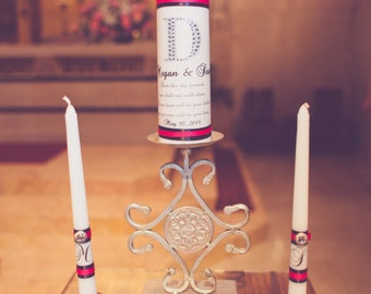 Personalized Unity Candle Set From This Day Forward Poem Rhinestone and Gems