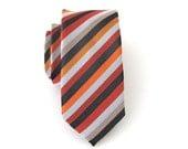 Necktie Red Orange Gray Stripes Skinny Tie