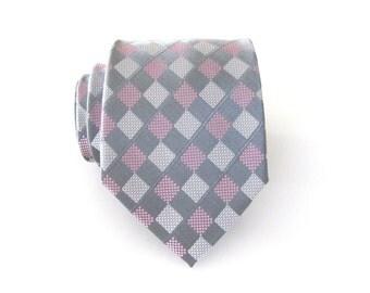 Mens Ties Necktie Gray and Pink Checkers Mens Tie