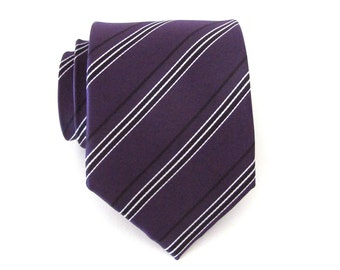 Mens Ties. Necktie Purple Black White Stripes Mens Tie