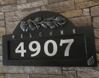 Arts and Crafts Pine Cone ADDRESS Plaque Craftsman House Numbers