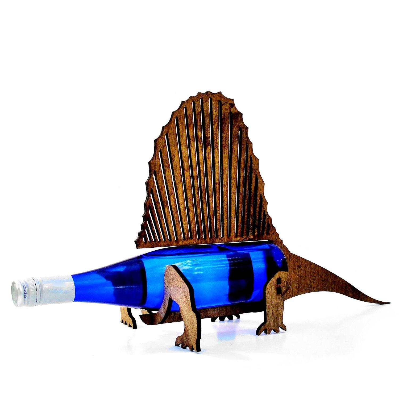 Sale item wine o saur wooden dinosaur wine rack dimetrodon - Dinosaur wine holder ...