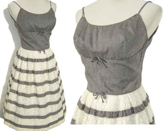 Vintage 60s Dress Shelf Bust Sundress Black & White Gingham Lace S XS
