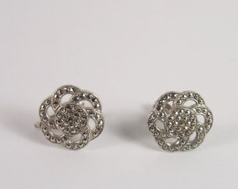 Art Deco Marcasite Sterling Silver Earrings Vintage 30s Jewelry