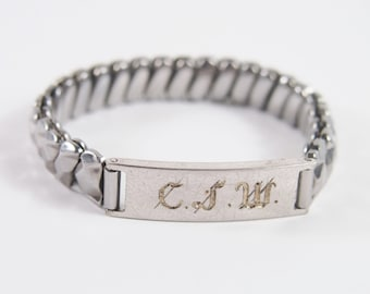 Expansion ID Bracelet Etched Monogram CJW Sterling Top Vintage 40s Jewelry