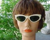 Vintage 50s Pair White Italian Sunglasses Cateye Glasses
