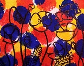 "ACEO ATC Poppy Flowers in Red Blue Yellow Acrylic Painting 3.5"" x 2.5"" Primary Colors on Card Stock"