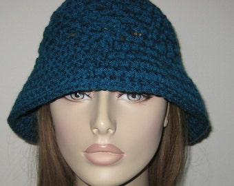 Teal Cloche Hat/Crochet Hat, Crochet Cloche
