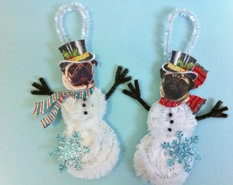 Pug SNOWMAN vintage style CHENILLE ornaments set of 2 feather tree