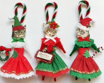 CAT CHRISTMAS ORNAMENTS kitty cat girl trio vintage style chenille ornaments set of 3