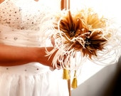 SALE -Feather Bouquet -  CLARA  bridal bouquet -vintage crystal brooches, hand wire crystals and lace