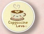 Cute Cappuccino Love. Cross Stitch Pattern PDF File