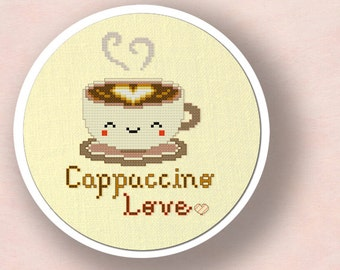 Cute Cappuccino Love. Cross Stitch Pattern PDF File