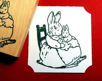 Peter Rabbit Mrs. Rabbit Beatrix Potter Rubber Stamp  - Handmade rubber stamp by BlossomStamps