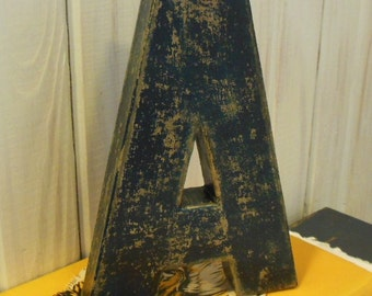 Navy Blue letter A Cottage Chic and Distressed   Primitive with Black Accents
