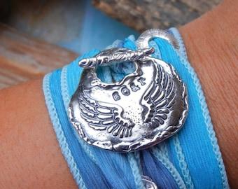 Angel Jewelry, Wings Silk Wrap Bracelet, Soar, STERLING Silver Inspirational Jewelry Gift, Angel Wings Jewelry, Inspirational Gift for Women
