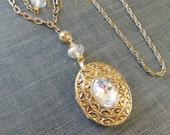 Assemblage Locket Necklace  / Vintage Chain / Blown Glass Bead  / Avon  / OOAK