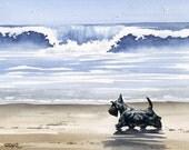 "Scottish Terrier Art Print ""SCOTTISH TERRIER At The Beach"" Signed by Artist DJ Rogers"