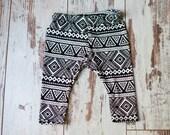 Black & White Tribal -  Newborn Sized Baby / Toddler Leggings