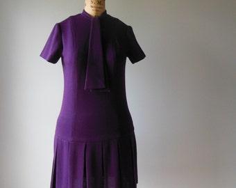 1960s Dress // 60s vintage // Boysenberry Wool Dress