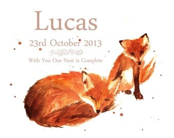 CUSTOM BIRTH Announcement, Fox Art, Birth Print, New baby boy, woodland nursery art