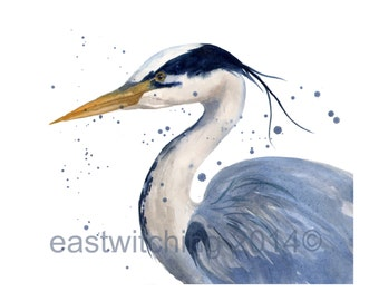 BLUE HERON Print, Art Print, nautical prints, coastal art
