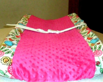 Girly Safari Party Animals and Deep Pink Minky Dot Changing Pad Cover