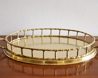 Vintage faux bamboo brass oval vanity tray, Hollywood Regency