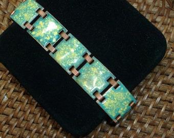vintage copper enamel link bracelet