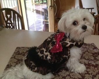 Small Animal Print Fleece Dog Coat  Chihuahua Yorkie Small Dog Pet Apparel Chihuahua Clothes