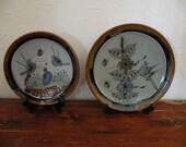 Beatiful Earthy Bird Dispay Plates Mexican Clay Stoneware Pottery Set 2 pc