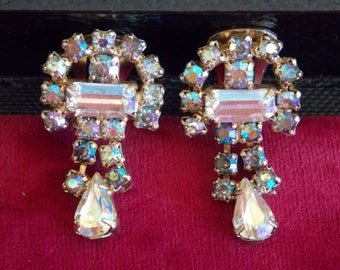 Vintage Clip-On Earrings With Gold-Reflecting Rhinestones
