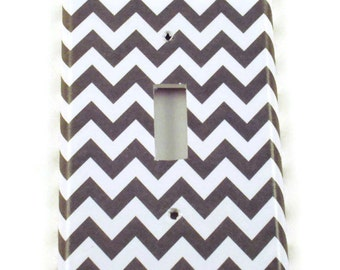 Light Switch Cover Wall Decor Switchplate Switch Plate in  Gray Chevron  (154S)