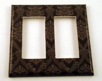 Rocker Switch Plate Wall Decor Decorative Switchplate  in  Black and Gray Damask (214DR)