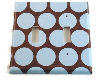 Double Switchplate  Light Switch Cover  Switch Plate in  Cocoa Blue   (172D)