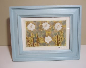 Original Framed  Pressed Flower Art - Water Liles