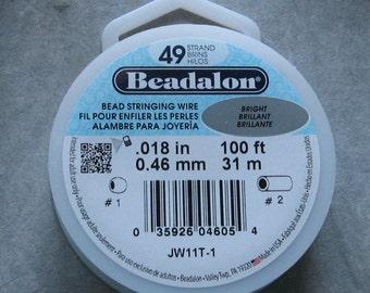 Beadalon 49 Strand Wire .018 Diameter Beading Wire 100 Foot Spool