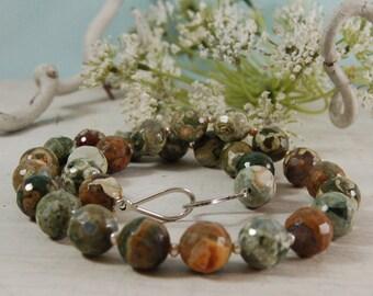 Rhyolite Necklace Rainforest Jasper Green Necklace Choker Sterling Silver