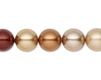 6 Autumn Swarovski Crystal Pearl Beads,10mm round.
