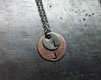 Custom Double Initial Tag Necklace