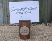 Wood Place Card Holders Personalized with Initials and Date - Set of 10 - Item 1570