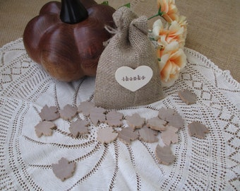 Favor Bags - SET OF 10 Wood Heart Thank You Burlap Wedding Favor Bags or Candy Buffet Bags 4x6 - Item 1131