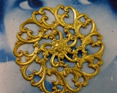 Raw Brass Large Ornate Floral Filigree Medallion 14RAW  x1