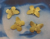 Raw Brass Butterfly Charms 327RAW  x4