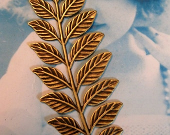 Brass Ox Plated Fern Leaf Branch Stamping Bent or Straight 91BOX x1