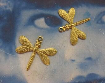 Raw Brass Dragonfly Charms 799RAW  x2